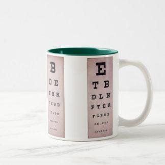 Cartas de ojo del vintage taza dos tonos