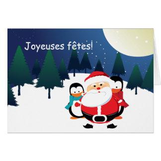 Cartas de Père Noël y de Manchot Papá Noel Tarjeta De Felicitación