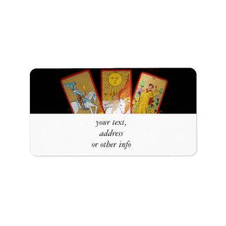 Cartas de tarot (2) etiqueta de dirección