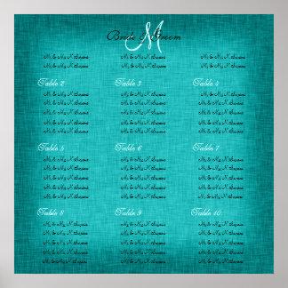 Cartas del asiento del boda de la turquesa de la a posters