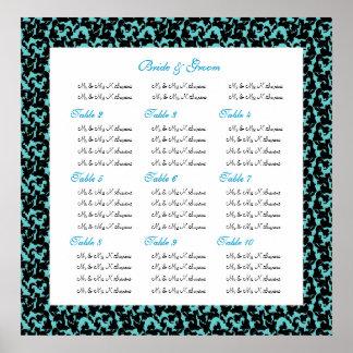 Cartas del asiento del boda del damasco poster