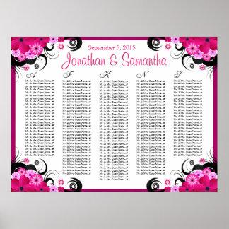 Cartas florales fucsias del asiento de la tabla póster