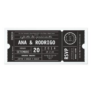 Cartaz convite de casamento hace preto del em del invitación 10,1 x 23,5 cm