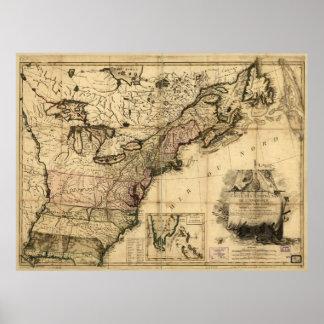 Carte des Etats-Unis de l'Amerique (1783) Poster