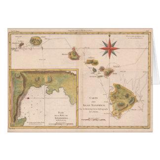 'Carte des Isles Sandwich', vintage Hawaii map Card