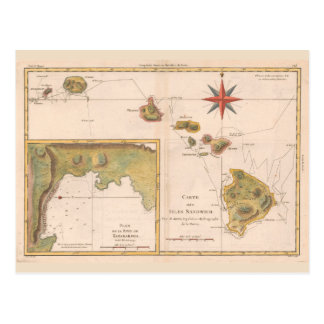 'Carte des Isles Sandwich', vintage Hawaii map Postcard