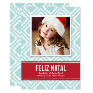 Carte Photo de Noël | Rouge et Bleu Motif Ikat Card