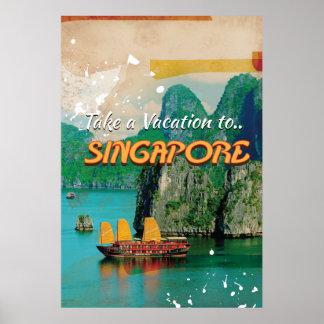 Cartel de las vacaciones de Singapur del vintage Póster