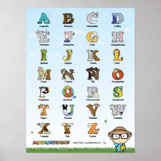 Cartel de los Alphabetimals - española de Versión Poster