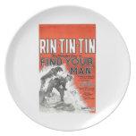 Cartel de película 1924 del vintage de la Rin-Lata Platos Para Fiestas