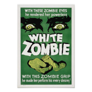 Cartel de película blanco del monstruo del zombi póster