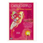 Cartel de película de Cagliostro (Boris Karloff) Postales
