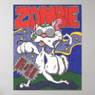 Cartel de película de la mofa del gato del zombi posters