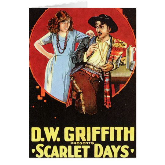 Cartel de película de los días del escarlata tarjeta de felicitación