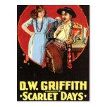 Cartel de película de los días del escarlata tarjeta postal