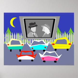 Cartel de película del autocinema de la pequeña póster