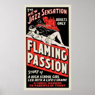 """Cartel de película del vintage - """"pasión llameante póster"""