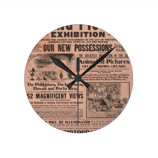 Cartel de película del vintage reloj redondo mediano