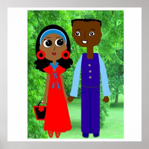 Cartel dedicado del dibujo animado de los pares impresiones