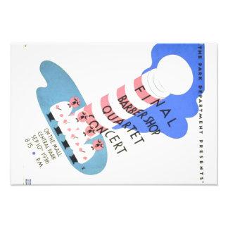 Cartel del concierto del cuarteto de la peluquería cojinete