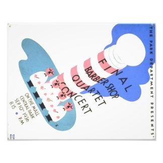 Cartel del concierto del cuarteto de la peluquería fotografías