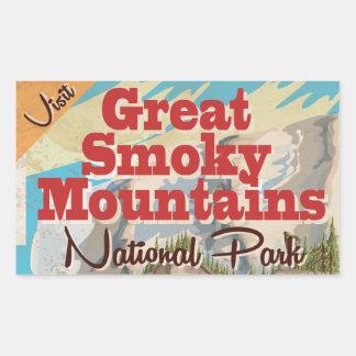 Cartel del viaje de Great Smoky Mountains Pegatina Rectangular