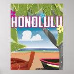 Cartel del viaje del vintage de Honolulu, Hawaii, Poster