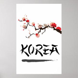 Cartel del viaje del vintage de la tinta de Corea Póster