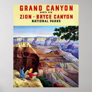 Cartel del viaje del vintage del del Gran Cañón Impresiones