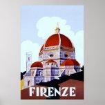Cartel italiano del viaje del ~Vintage de Firenze Póster