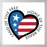 Cartel patriótico americano del corazón impresiones