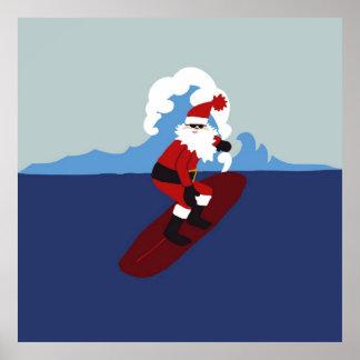 ¡Cartel que practica surf Santa! Póster
