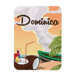 Cartel retro del viaje de Dominica Imanes Flexibles