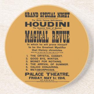 Cartelera amarilla restaurada 1914 de Harry Houdin Posavasos Personalizados
