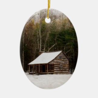 Carter Shields Cabin Winter Ornament Cades Cove TN