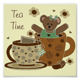 Cartera 11x11 del oso de peluche del tiempo del té posters