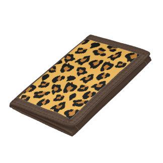Cartera amarilla del nilón del estampado leopardo