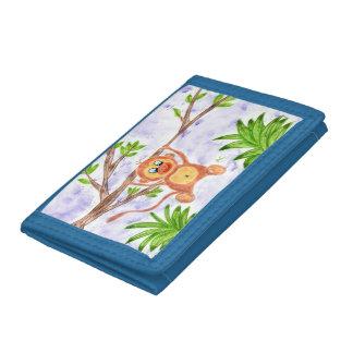 Cartera azul del niño del mono de la selva