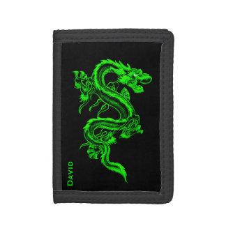 Cartera china verde del personalizado del dragón