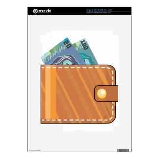 Cartera con el cuero de Brown del dinero Calcomanías Para El iPad 2
