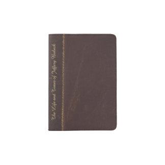 Cartera de cuero antigua del pasaporte de la porta pasaporte
