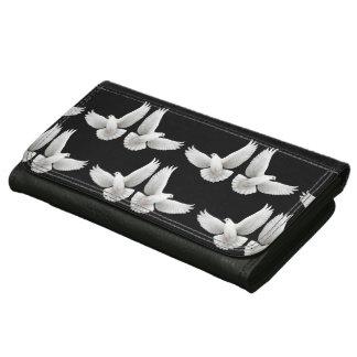 Cartera de cuero blanca de las palomas de paz que