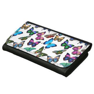 Cartera de cuero de las mariposas tropicales color