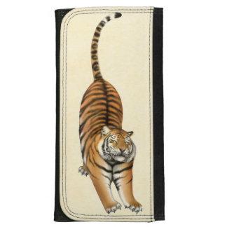 Cartera de cuero feliz del tigre que estira
