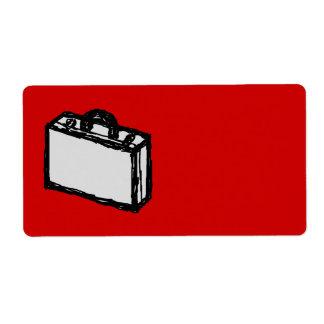 Cartera de la oficina o maleta del viaje. Bosquejo Etiqueta De Envío