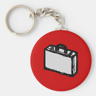 Cartera de la oficina o maleta del viaje. Bosquejo Llavero Redondo Tipo Pin