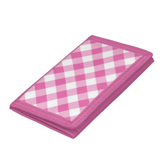 Cartera de tres pliegues de nylon: Guinga rosada,