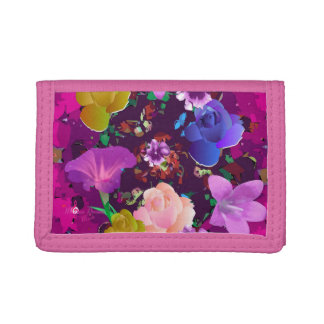 Cartera de tres pliegues floral abstracta rosada
