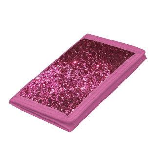 Cartera de tres pliegues rosada del brillo