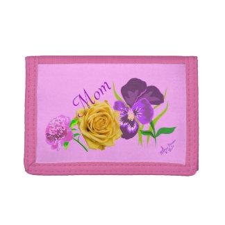Cartera de tres pliegues rosada floral de la mamá